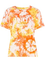 All Things Mochi Logo Embroidered Tie Dye Cotton T Shirt Orange