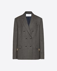 Valentino Twisted Houndstooth Blazer With Gold V Details Grey Wool 100