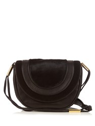 Diane Von Furstenberg Medium Bullseye Leather Messenger Cross Body Bag Black Gold