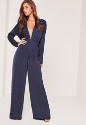 Missguided Silky Long Sleeve Plunge Jumpsuit Navy