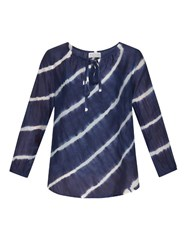 Velvet By Graham And Spencer Edana Tie Dye Cotton Silk Blend Blouse