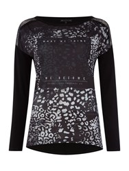 Salsa Long Sleeve Round Neck Printed Top Black