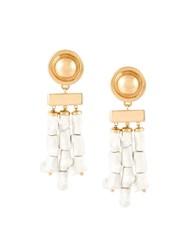 Balmain Bamboo Style Earrings White