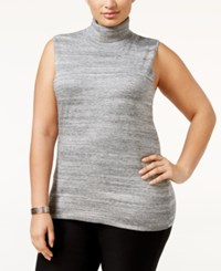Calvin Klein Plus Size Sleeveless Turtleneck Sweater Heather Granite