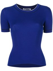 Agnona Slim Fit T Shirt Women Silk Cotton 40 Blue