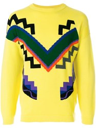 Versace Vintage Geometric Intarsia Jumper Yellow And Orange