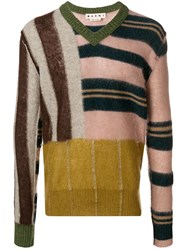 Marni Patched Stripe V Neck Sweater Nude And Neutrals