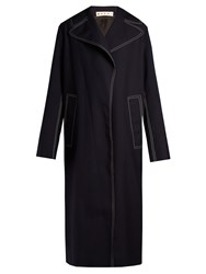 Marni Contrast Stitch Oversized Coat Navy