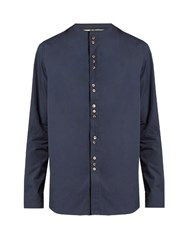 By Walid Collarless Cotton Poplin Shirt Navy