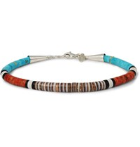 Peyote Bird Turquoise Coral Jet Shell And Sterling Silver Bracelet Red