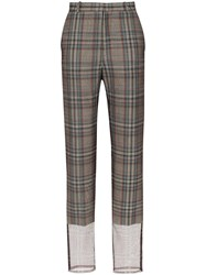 Y Project Mesh Trimmed Checked Trousers Grey