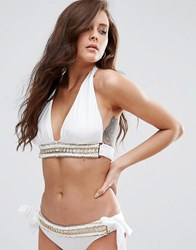 Asos Fuller Bust Exclusive Gold Trim Plunge Supportive Triangle Bikini Top Dd G White
