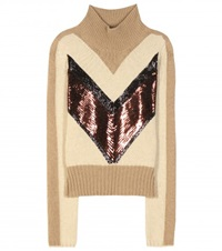 Giambattista Valli Embellished Camel Hair Wool Turtleneck Sweater Beige