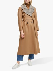 French Connection Carmelita Check Insert Coat Camel