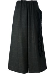 Antonio Marras Plaid Wide Leg Cropped Trousers Green
