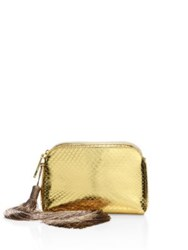 The Row Mini Metallic Python Tassel Wristlet Gold