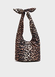Ganni Large Padded Tie Tote Bag In Leopard