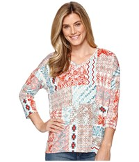 Tribal Printed Jersey 3 4 Sleeve Drop Shoulder V Neck Top Laguna Women's Long Sleeve Pullover Blue