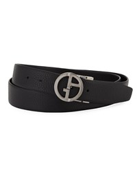 Giorgio Armani Logo Buckle Vitello Belt Black