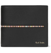 Paul Smith Stripe Trimmed Full Grain Leather Billfold Wallet Black