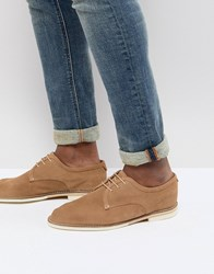 Hudson H By Andover Suede Lace Up Shoes In Sand Stone