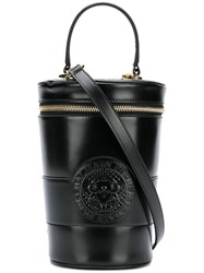 Balmain Logo Embossed Bucket Bag Black