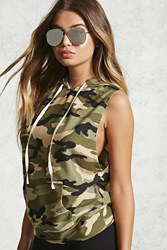 Forever 21 Sleeveless Camo Hoodie Green Taupe