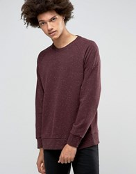 Weekday Paris Neps Crew Sweatshirt 46 215 Wine White Red