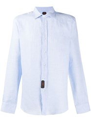 Massimo Piombo Mp Crinkled Effect Curved Hem Shirt Blue