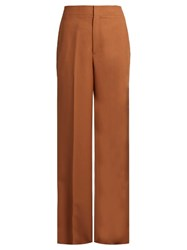 Helmut Lang Wide Leg Wool Twill Trousers Tan