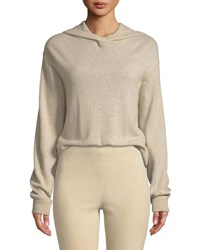 Vince Hooded Overlap Cashmere Sweater Beige