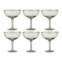 Bitossi Gold Rim Champagne Coupes Set Of 6 Clear