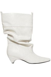 Stella Mccartney Snake Effect Faux Leather Boots White