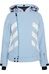 Perfect Moment Biker Quilted Padded Canvas Ski Jacket Sky Blue
