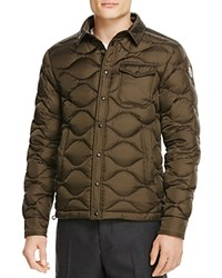 Moncler Nambour Solid Quilted Down Jacket Olive Brown