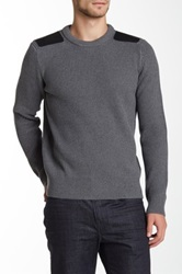 Vince Leather Shoulder Patch Crew Neck Sweater Gray