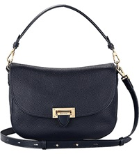 Aspinal Of London Letterbox Slouchy Leather Saddle Bag Navy