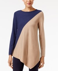 Alfani Asymmetrical Colorblocked Sweater Only At Macy's Tri Color C B Navy