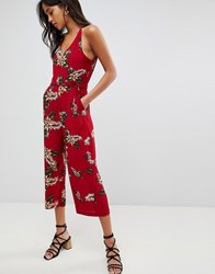 Ax Paris Leaf Print Jumpsuit Red