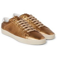 Saint Laurent Sl 06 Court Classic Metallic Textured Leather Sneakers Gold