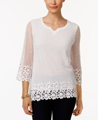 Alfred Dunner Petite Cotton Crochet Tunic White