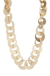 Natasha Accessories Disc Chain Link Short Necklace Metallic