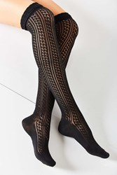 Urban Outfitters Crochet Double Cuff Over The Knee Sock Black