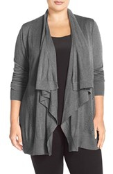Plus Size Women's Sejour Drape Front Cardigan Grey Dark Heather