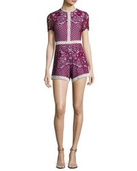 Alexis Rowen Lace Romper Red Lavender Red Pattern