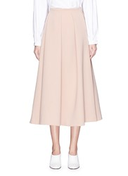 Co Pleated Front Crepe A Line Midi Skirt Pink