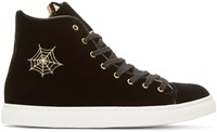 Charlotte Olympia Black Velvet High Top Purrrfect Sneakers