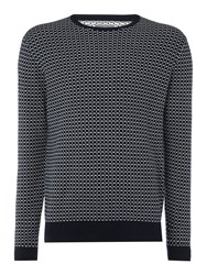 Peter Werth Elder Matchstick Check Crew Neck Navy