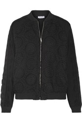 Opening Ceremony Broderie Anglaise Cotton Bomber Jacket Black