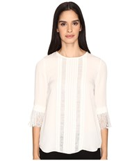 Kate Spade Lace Inset Silk Top French Cream